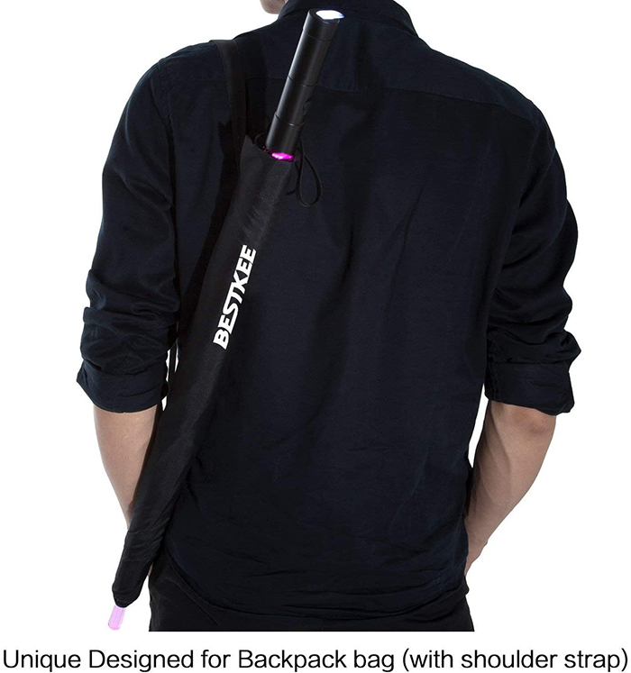 bestkee lightsaber-inspired umbrella carried on user's back