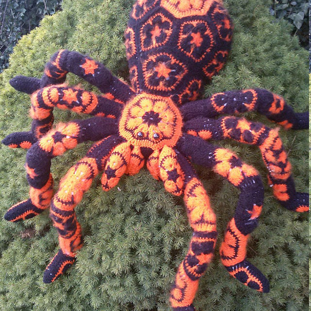 black and orange crochet spider