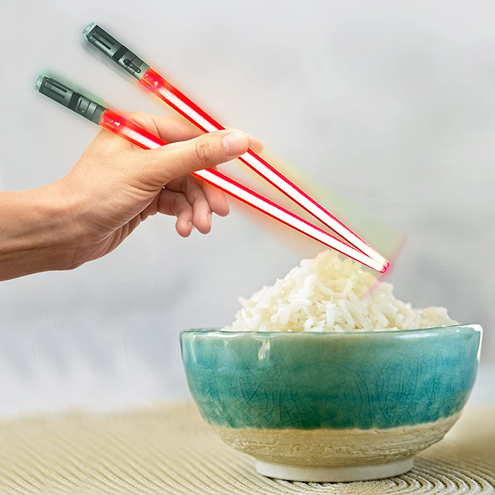 chopsabers light-up eating utensils red