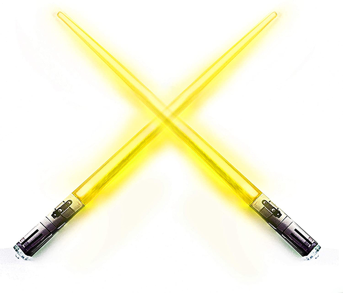 chopsabers light-up eating utensils yellow