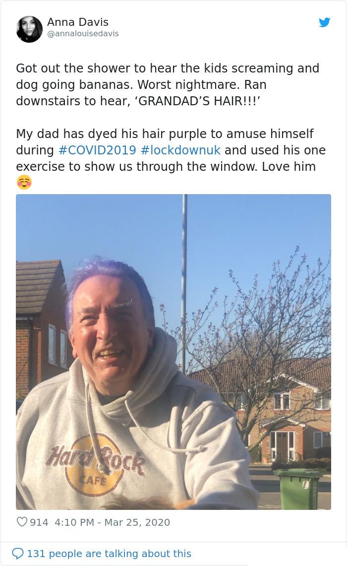 coronavirus good stories grandpa purple hair