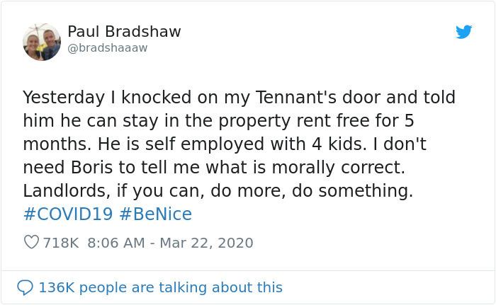 coronavirus good stories landlord gives tennats free rent