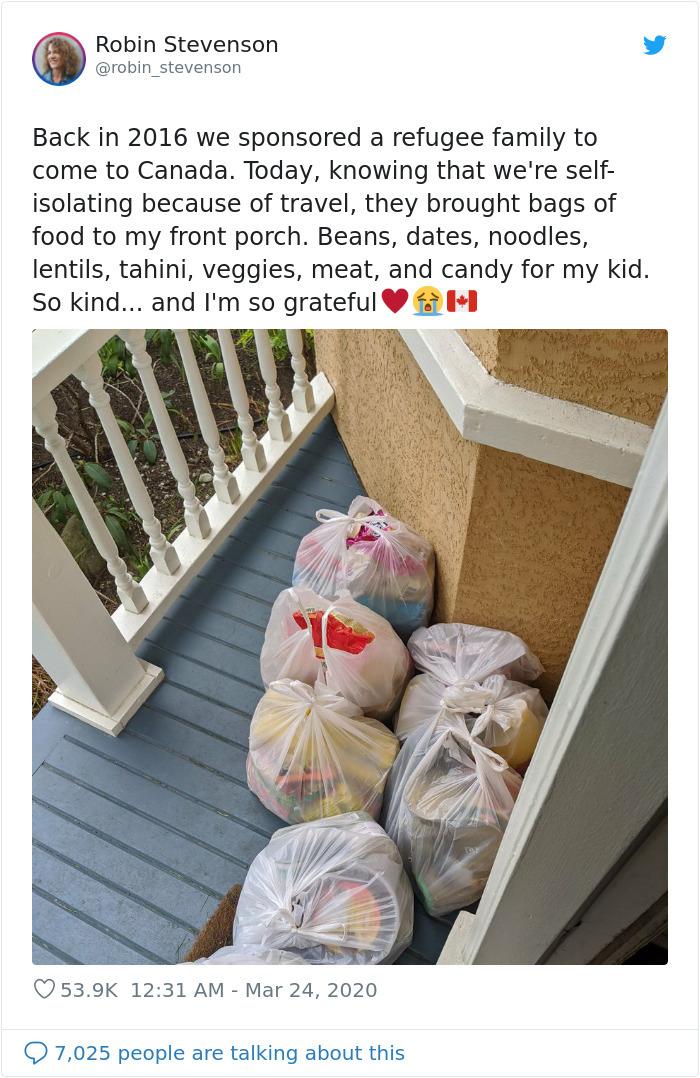 coronavirus wholesome stories refugee family pays back