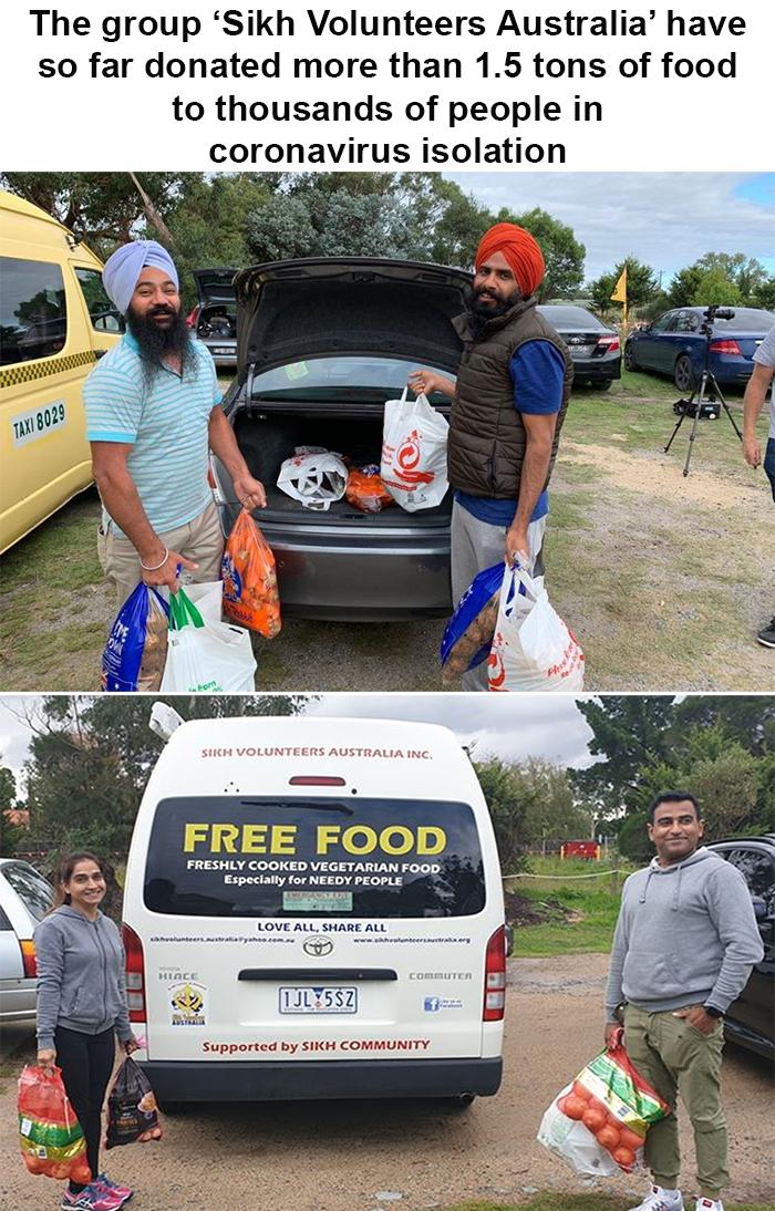 coronavirus wholesome stories sikh volunteers australia