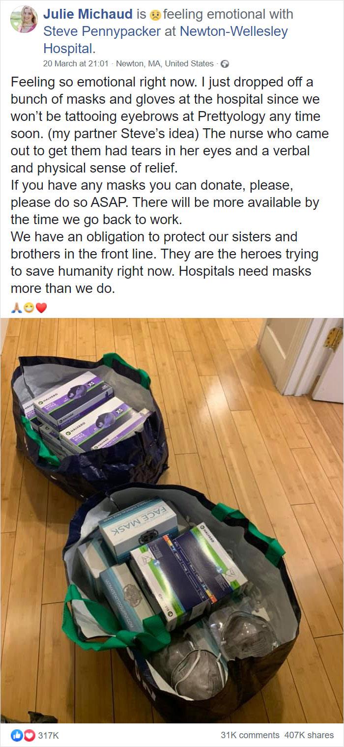 coronavirus wholesome stories tattoo salon donates masks gloves