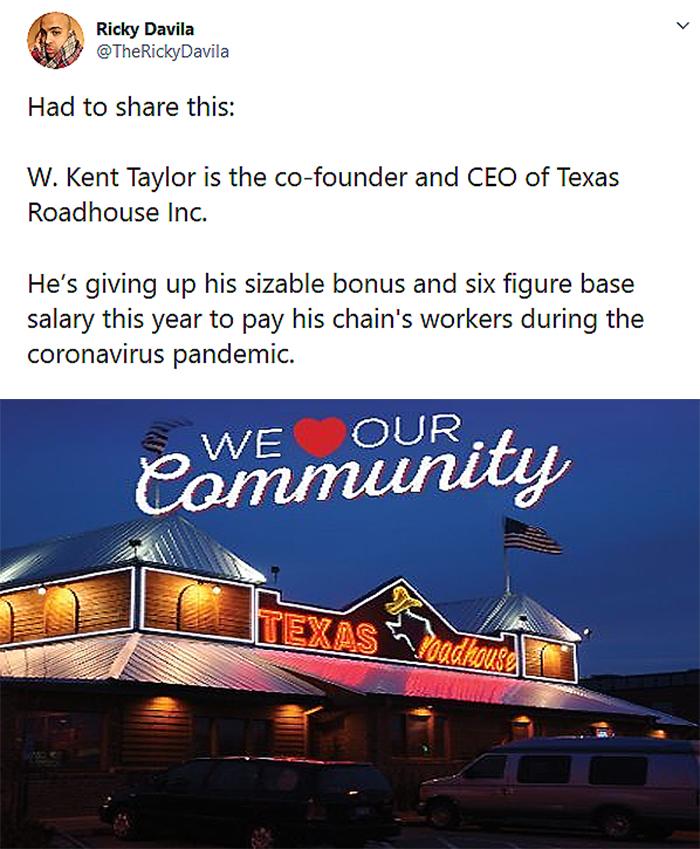 coronavirus wholesome stories texas roadhouse ceo