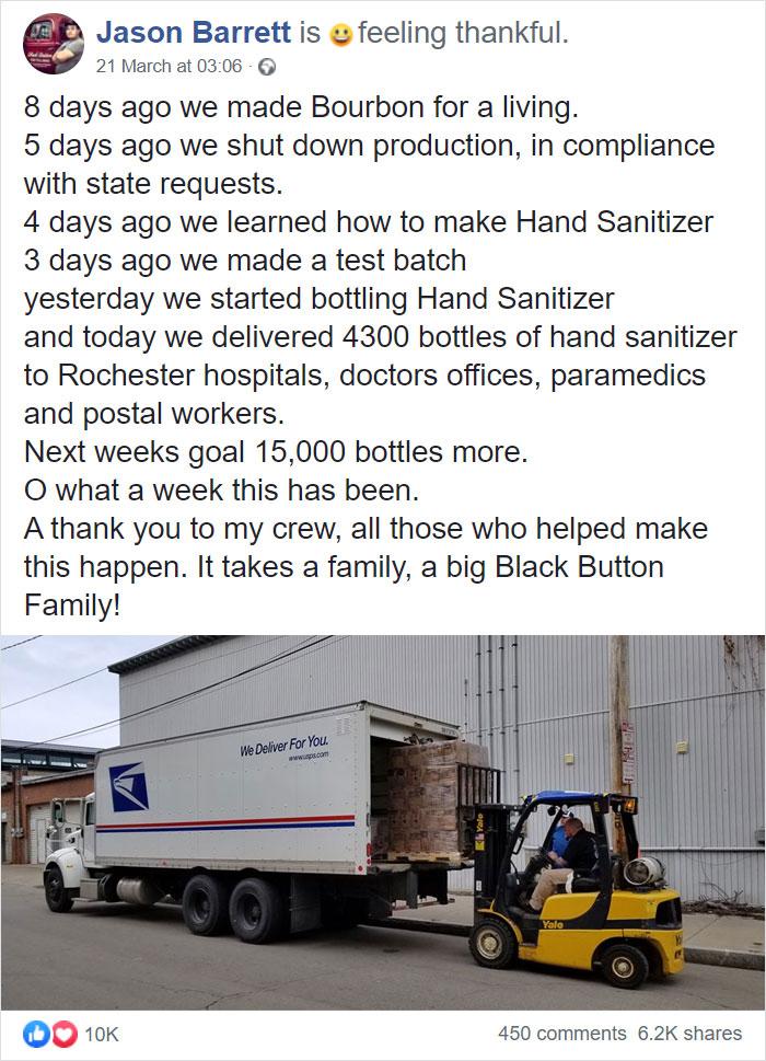 coronavirus wholesome stories wine company donates sanitizers