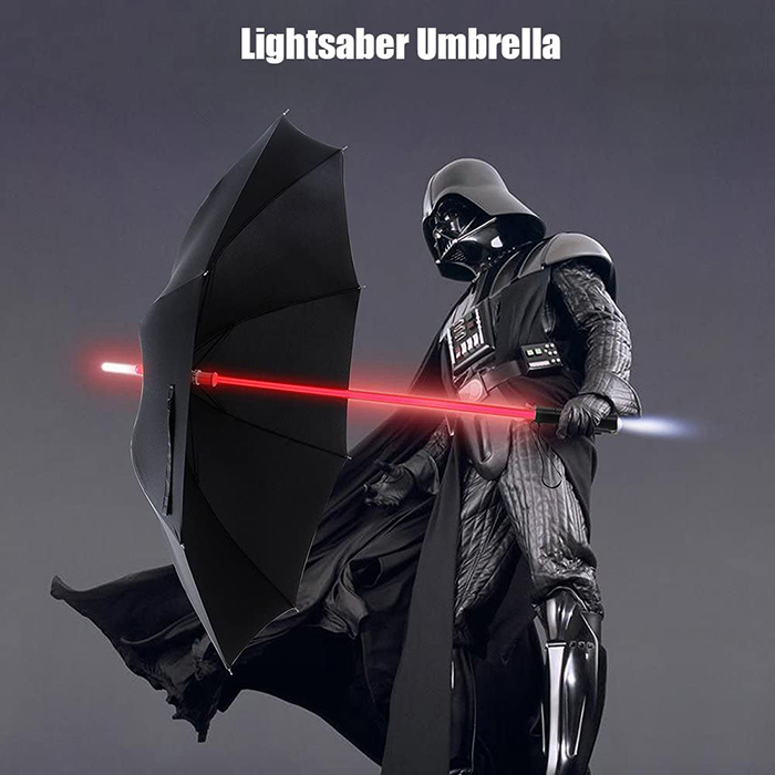 creative image of darth vader holding the lightsaber umbrella