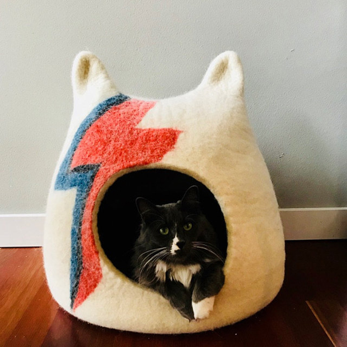 david bowie inspired feline caves felted wool