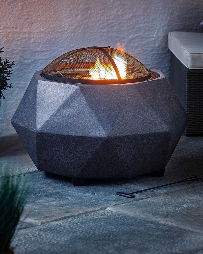 faux stone fire pits mesh lid