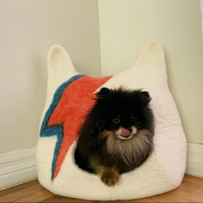 felted wool pet cave lightning bolt print