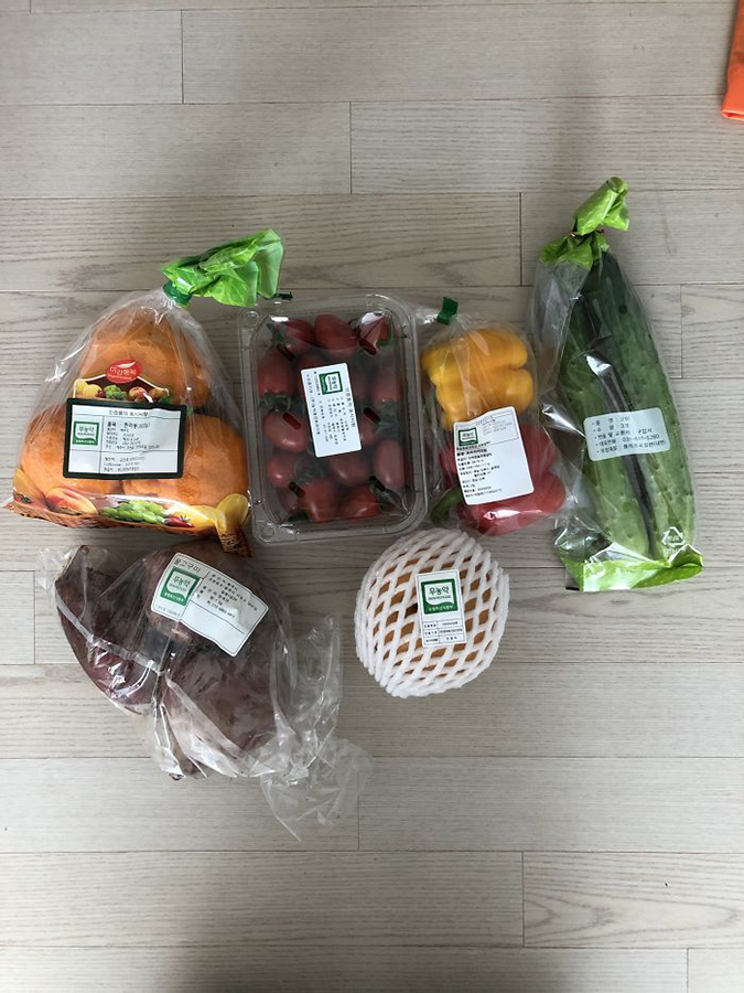 fresh produce provided in the south korean government comfort package