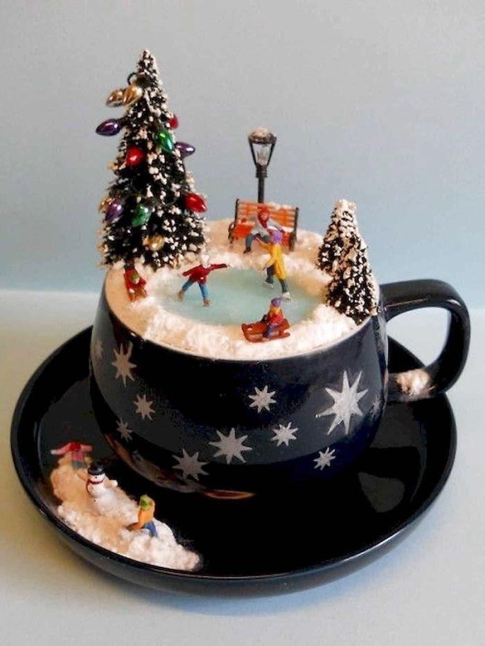 frosty miniature landscape on a cup