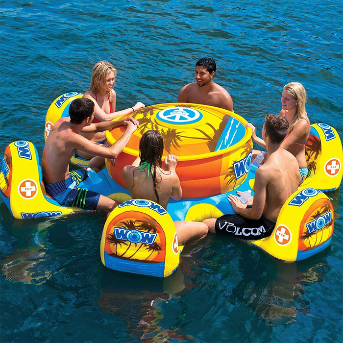 inflatable table with chairs and cooler attached