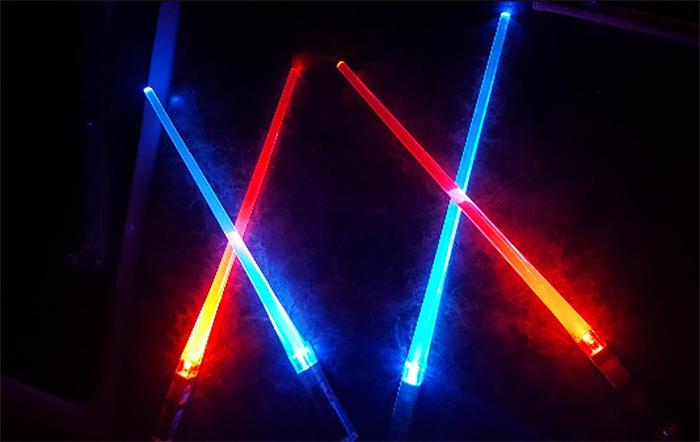 lightsaber chopsticks in the dark