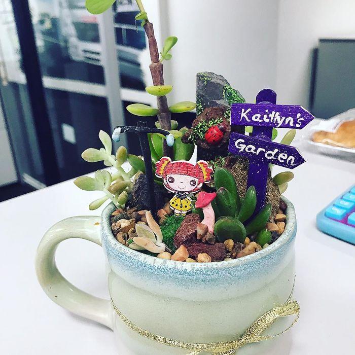 miniature landscape on cup