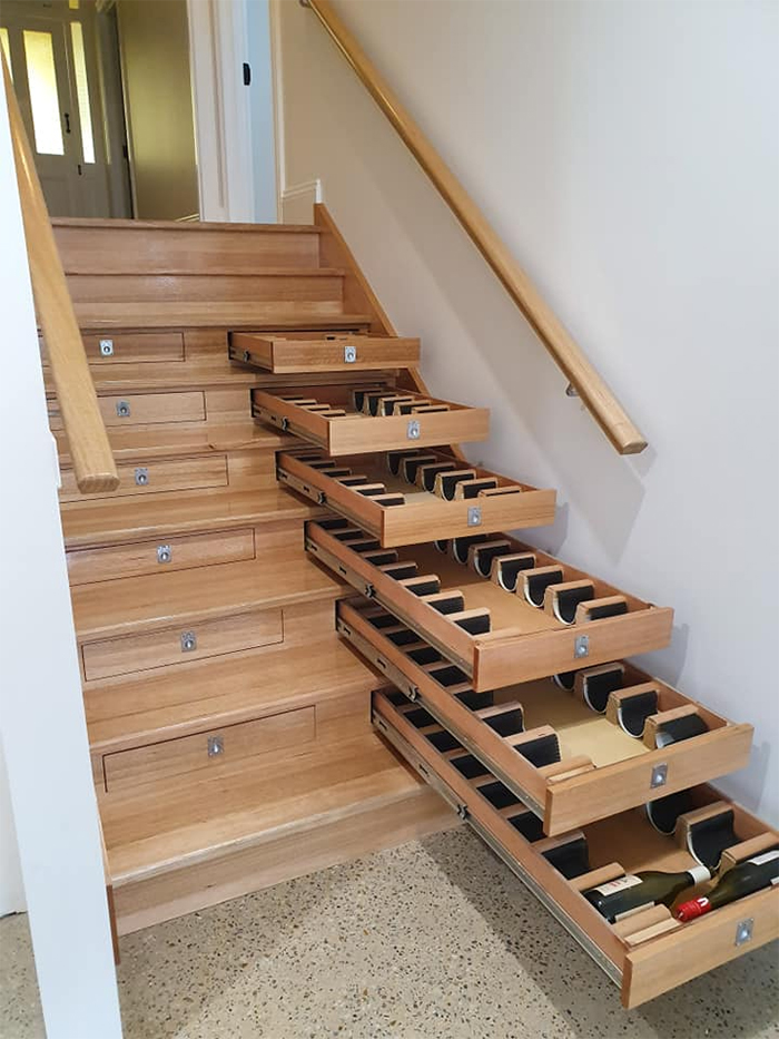 murray berrill wine storage staircase