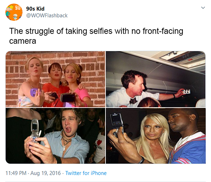 old school struggles no front-facing camera phones