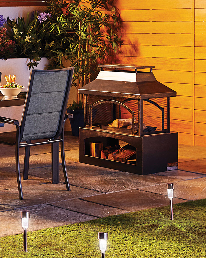 outdoor log burner steel construction