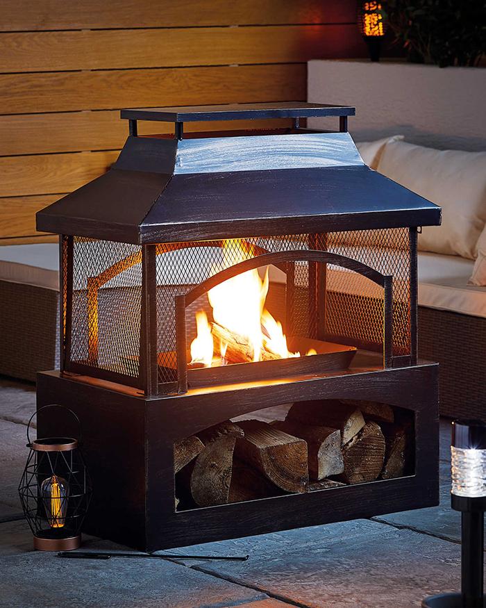 outdoor log burner with built-in storage
