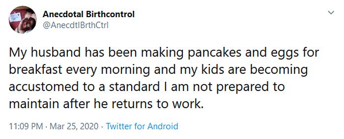 parenting quarantine husband making breakfast