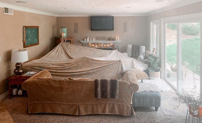 parenting quarantine kids transform living room to fort