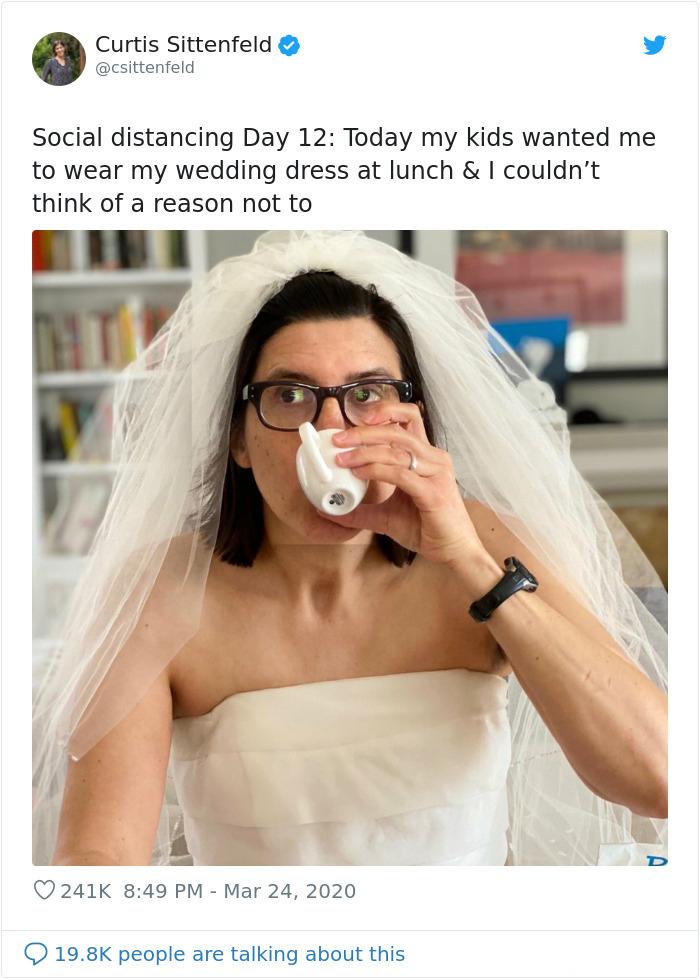 parenting quarantine wedding dress