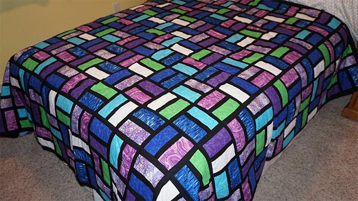 patchwork purple blue green quilt-work