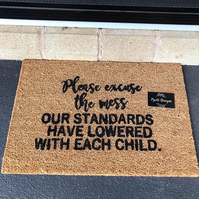 please excuse the mess our standards have lowered with each child doormat