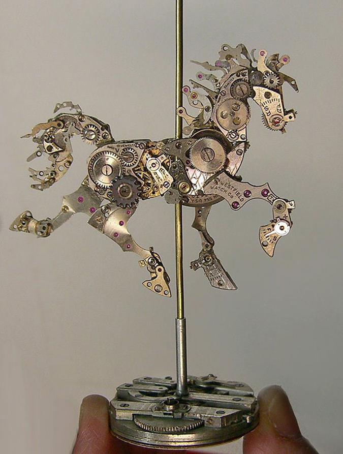 prancing horse steampunk sculpture