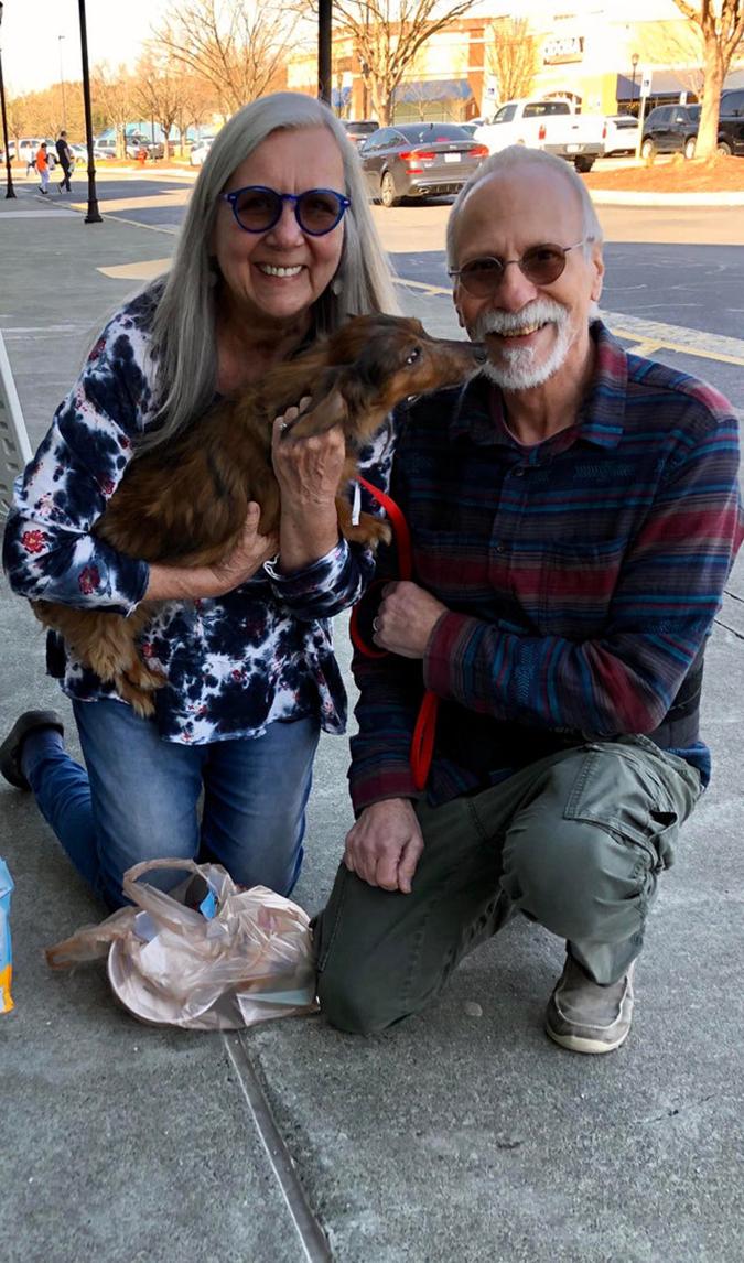 rescue pet photo-senior couple adopts senior dog