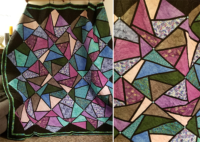 stained glass quilts purple blue green