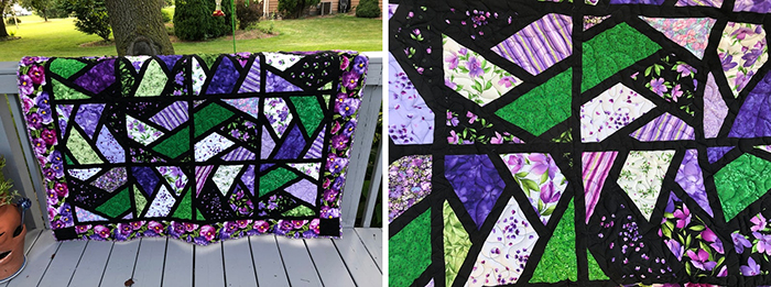 stained glass quilts purple