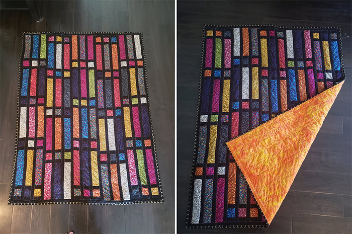 stained glass quilts with brilliant colors