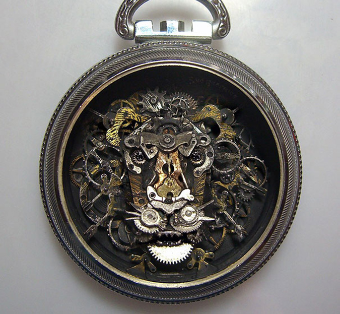 steampunk lion inside a pocket watch case