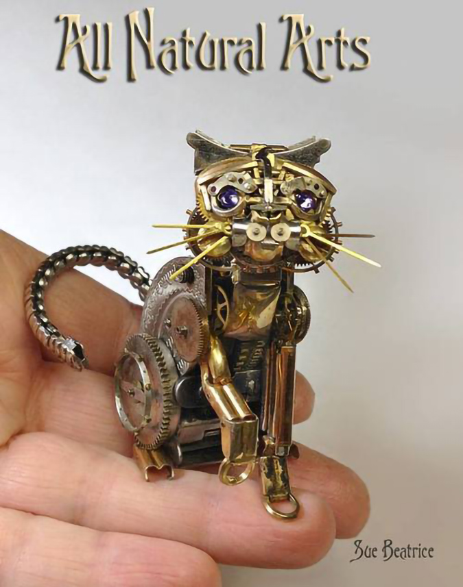 steampunk sculpture of cat