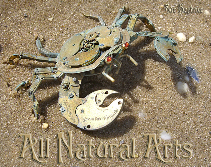 steampunk sculptures crab
