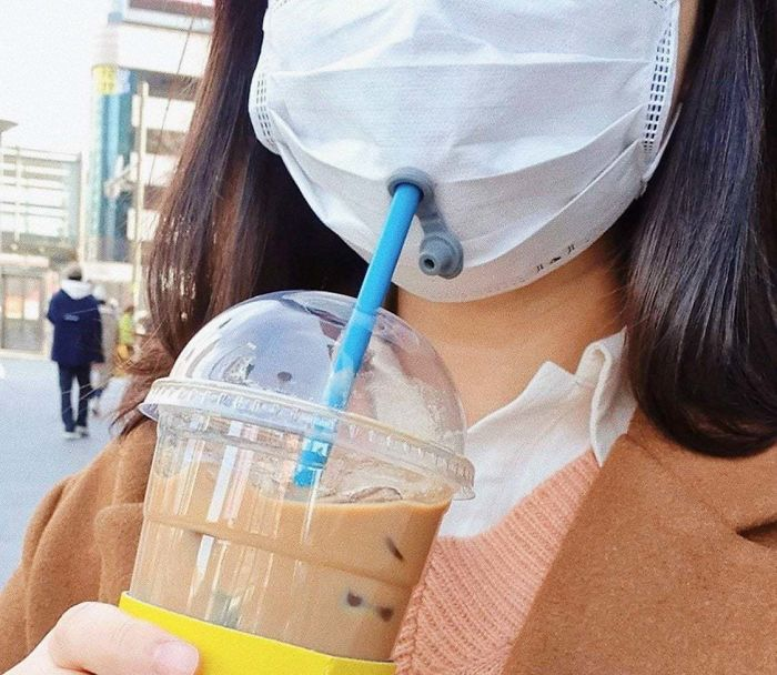 surgical mask with drinking hole
