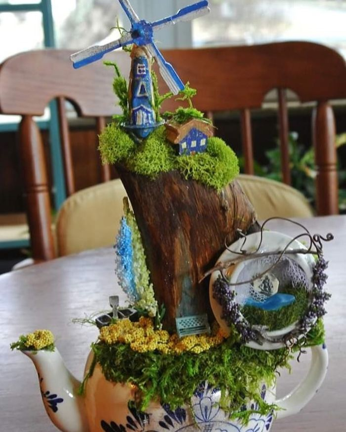 teapot miniature landscape