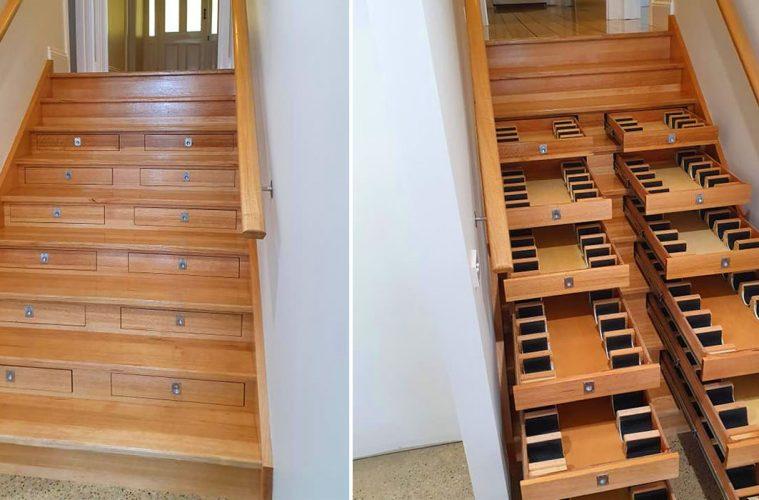wine storage staircase