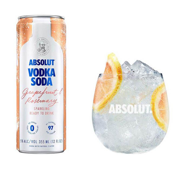 Absolut Vodka Soda Grapefruit and Rosemary