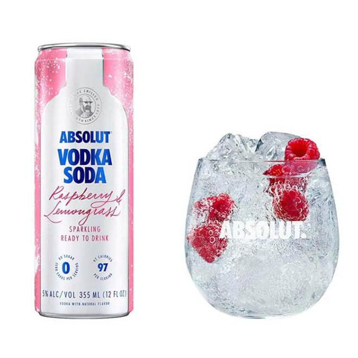 Absolut Vodka Soda Raspberry and Lemongrass