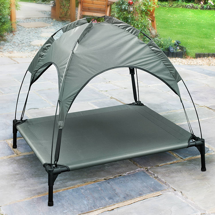 B&M Grey Raised Pet Bed with Canopy