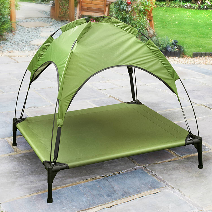B&M Raised Pet Bed with Canopy Green