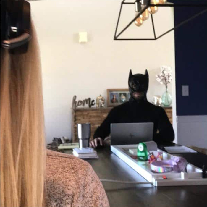 Cara Fields Husband Zoom Bombing in Batman Costume