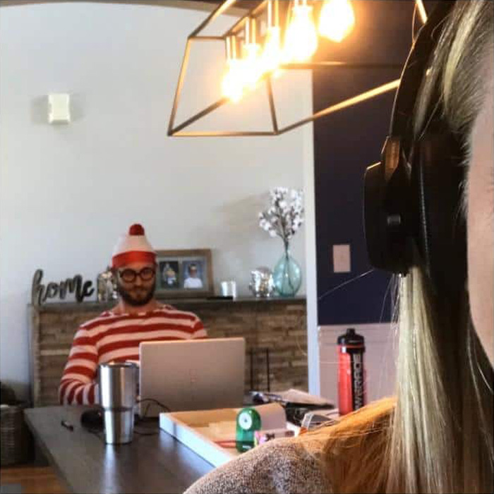 Cara Fields Husband Zoom Bombing in Wheres Waldo Costume
