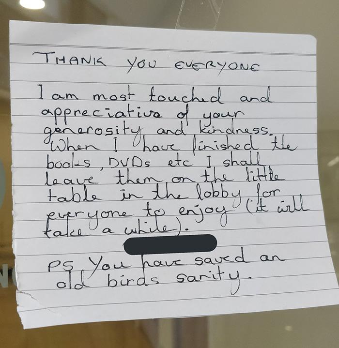 Handwritten Thank-you Note by Elderly Woman