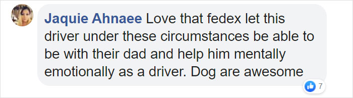 Jaquie Ahnaee Facebook Comment FedEx Driver with Dogs