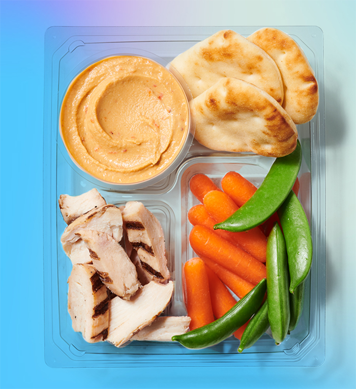 Grilled Chicken Hummus Protein Box Starbucks Summer Offering along with Iced Guava Passionfruit Drink