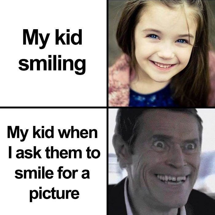 asking kid to smile for a picture